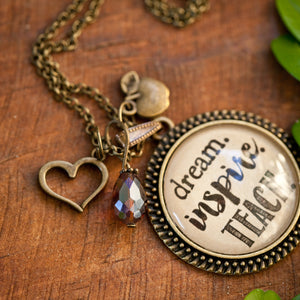 A teacher takes a hand, opens a mind touches a heart pendant necklace (charms and beads included)