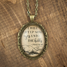 """I will lift up mine eyes unto the hills"" necklace"
