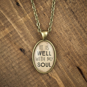 """It is well with my soul"" oval necklace"
