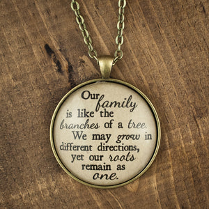"""Our family is like branches of a tree"" necklace"