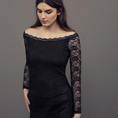 Lacy shoulder bluse · Dark Marine