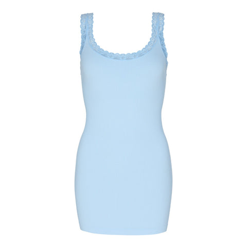 Frida Rib microfiber top · Light Blue