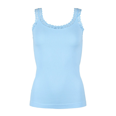 Rib microfiber top · Light Blue