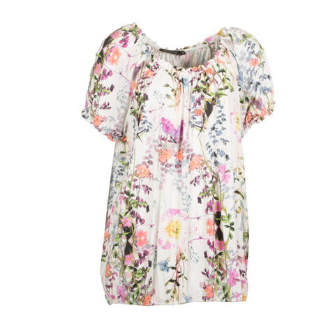 Off-shoulder bluse med print