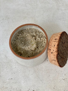White & Black Sage salt scrub with ceramic container