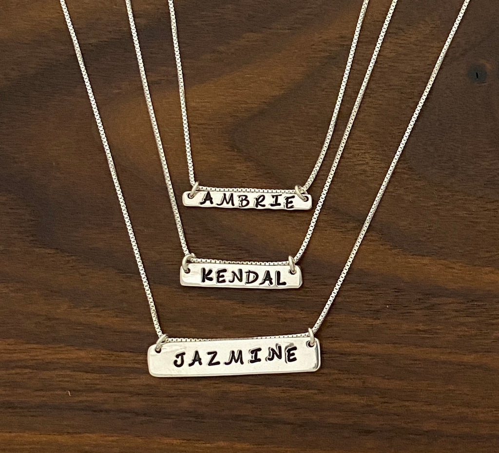 Hand Stamped Bar Necklaces in Sterling Silver