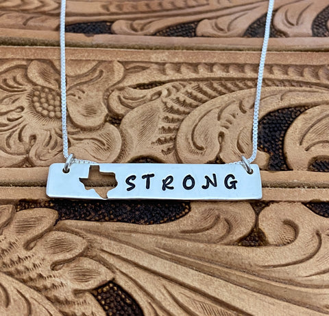 Texas Strong Bar Necklace in Sterling Silver