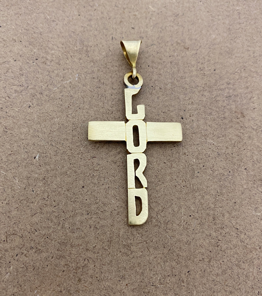 Hand Cut Letters on Cross Necklace