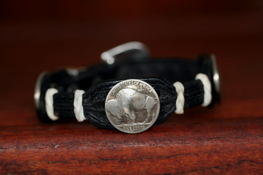 Buffalo Coin on a Leather Buckle Bracelet