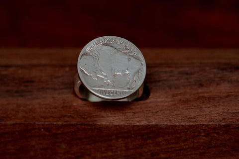 Buffalo Coin on Silver Band Ring