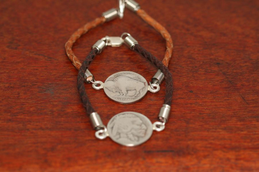 Buffalo & Indian Coin on a Leather Bracelet