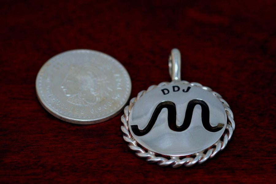 Brand Pendant - Cinco Peso Coin with Rope Trim