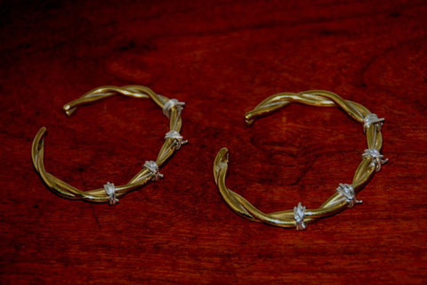Barbed Wire Cuff Bracelet in Brass - Female -Large