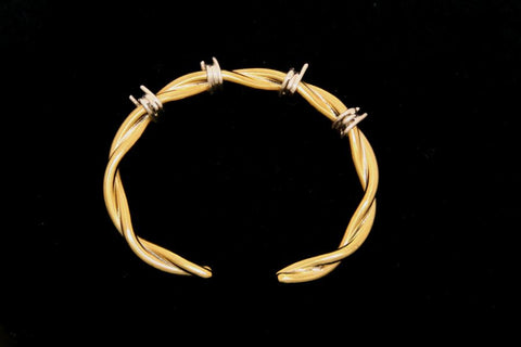 Barbed Wire Cuff Bracelet in Brass - Male -Medium