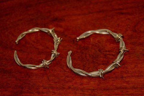 Barbed Wire Cuff Bracelet in Nickel - Male -Large
