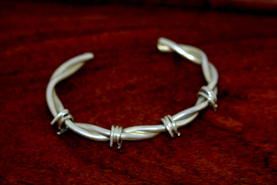 Barbed Wire Bracelet in Sterling - Male -Small