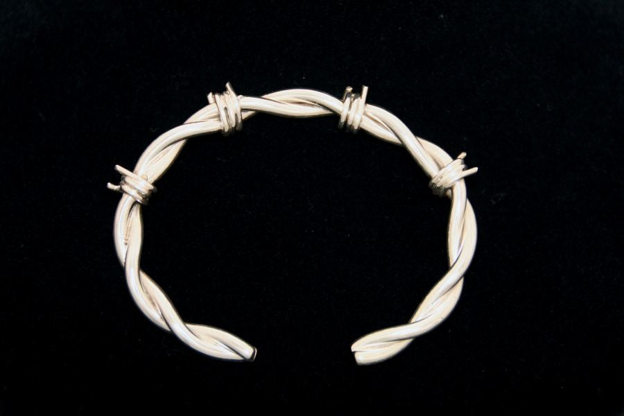 Barbed Wire Bracelet in Sterling - Male -Large