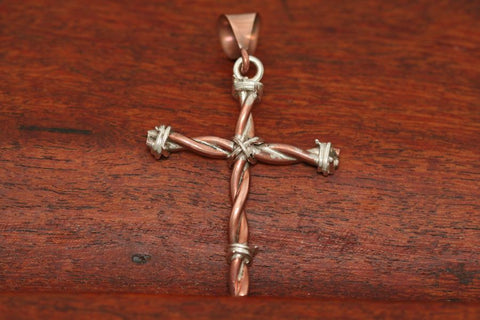 Barbed Wire Cross in Copper - Medium