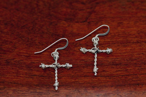 Barbed Wire Cross Earrings in Sterling - Mini