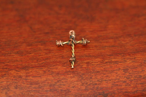 Barbed Wire Cross Pendant in Brass - Mini