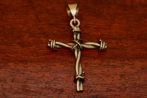 Barbed Wire Cross Pendant in Brass - Medium