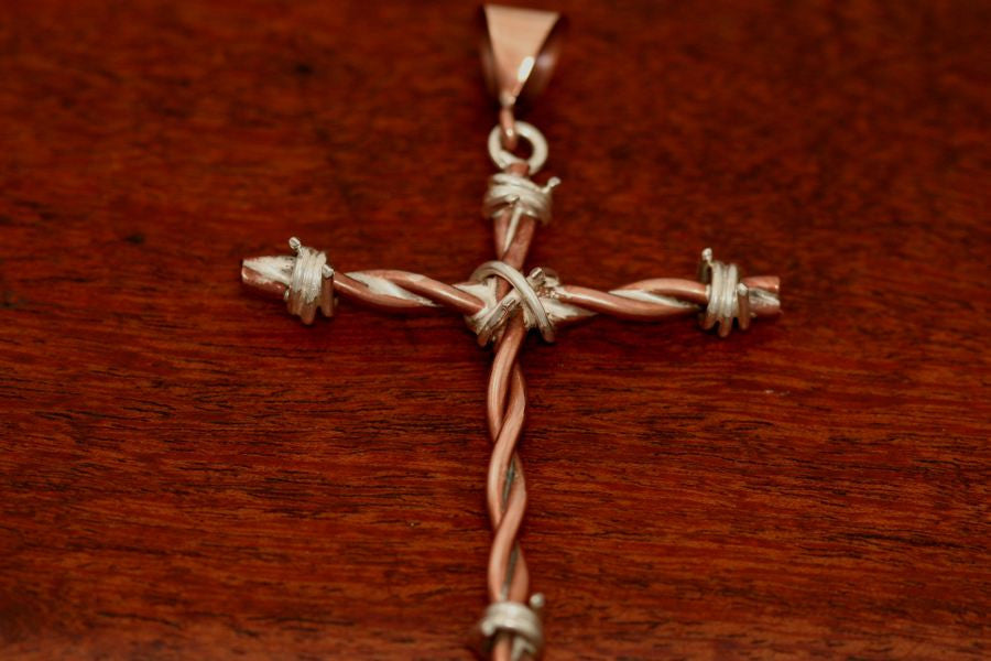 Barbed Wire Cross Pendant in Copper - Large