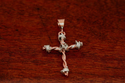 Barbed Wire Cross Pendant in Copper - Small