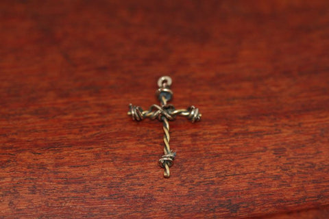 Barbed Wire Cross Pendant in Nickel - Mini