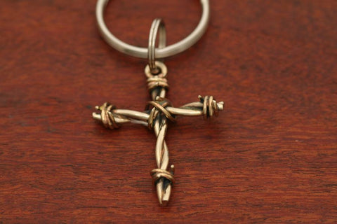 Barbed Wire Cross Pendant in Nickel - Medium