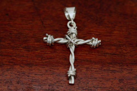 Barbed Wire Cross Pendant in Sterling - Medium