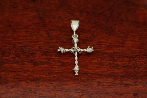 Barbed Wire Cross Pendant in Sterling - Mini