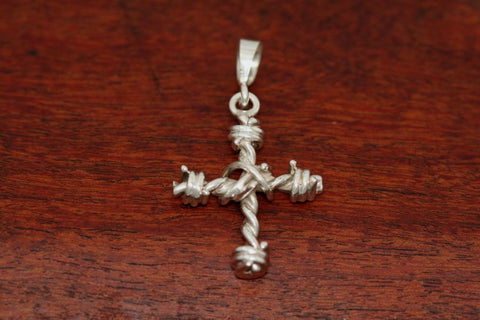 Barbed Wire Cross Pendant in Sterling - Small
