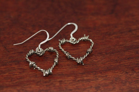 Barbed Wire Heart Earrings in Sterling - Mini