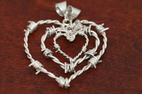 Barbed Wire Heart Pendant in Sterling - Large