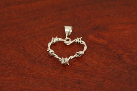 Barbed Wire Heart Pendant in Sterling - Mini