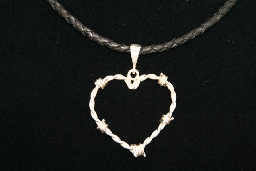 Barbed Wire Heart Pendant in Sterling - Medium