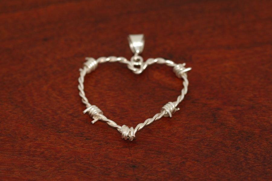 Barbed Wire Heart Pendant in Sterling - Small
