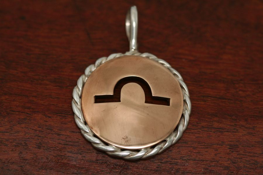 Brand Pendant in Copper with Sterling Rope