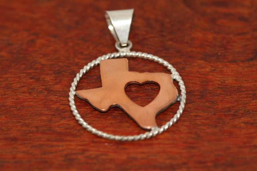 Copper Map with Heart and Sterling Rope Trim-Large