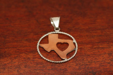 Copper Map with Heart and Sterling Rope Trim-Medium