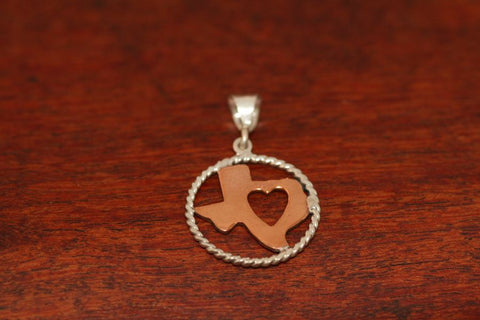Copper Map with Heart and Sterling Rope Trim-Small