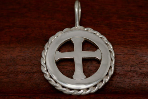 Cinco Peso Coin with Rope - with a Cross