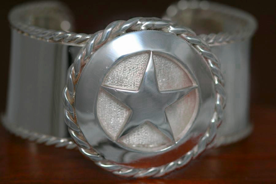 Cinco Peso Star on Large Cuff Bracelet - both with Rope Trim
