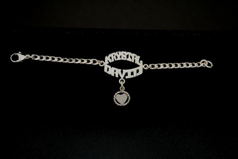 Double Name Bracelet on a Sterling Silver Chain with a Charm