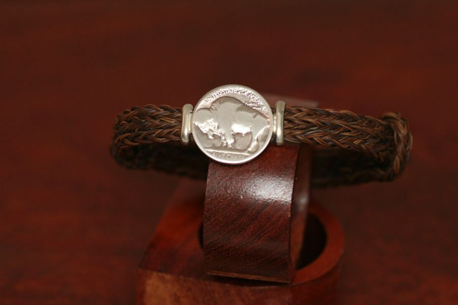 Buffalo Coin on an Endless Horsehair Bracelet