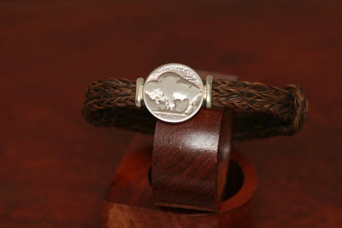 Buffalo or Indian Coin on an Endless Horsehair Bracelet