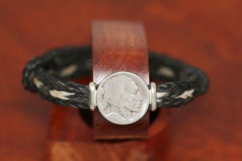 Indian Coin on an Endless Horsehair Bracelet