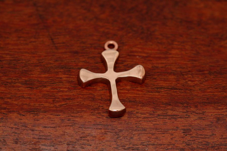Four Point Cross Pendant in Copper-Medium