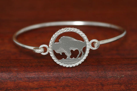 Handcut Buffalo Coin, with Sterling Silver Rope Trim on a Sterling Silver Bangle