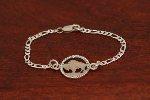 Handcut Buffalo Coin, with Sterling Silver Rope Trim on a Silver Bracelet